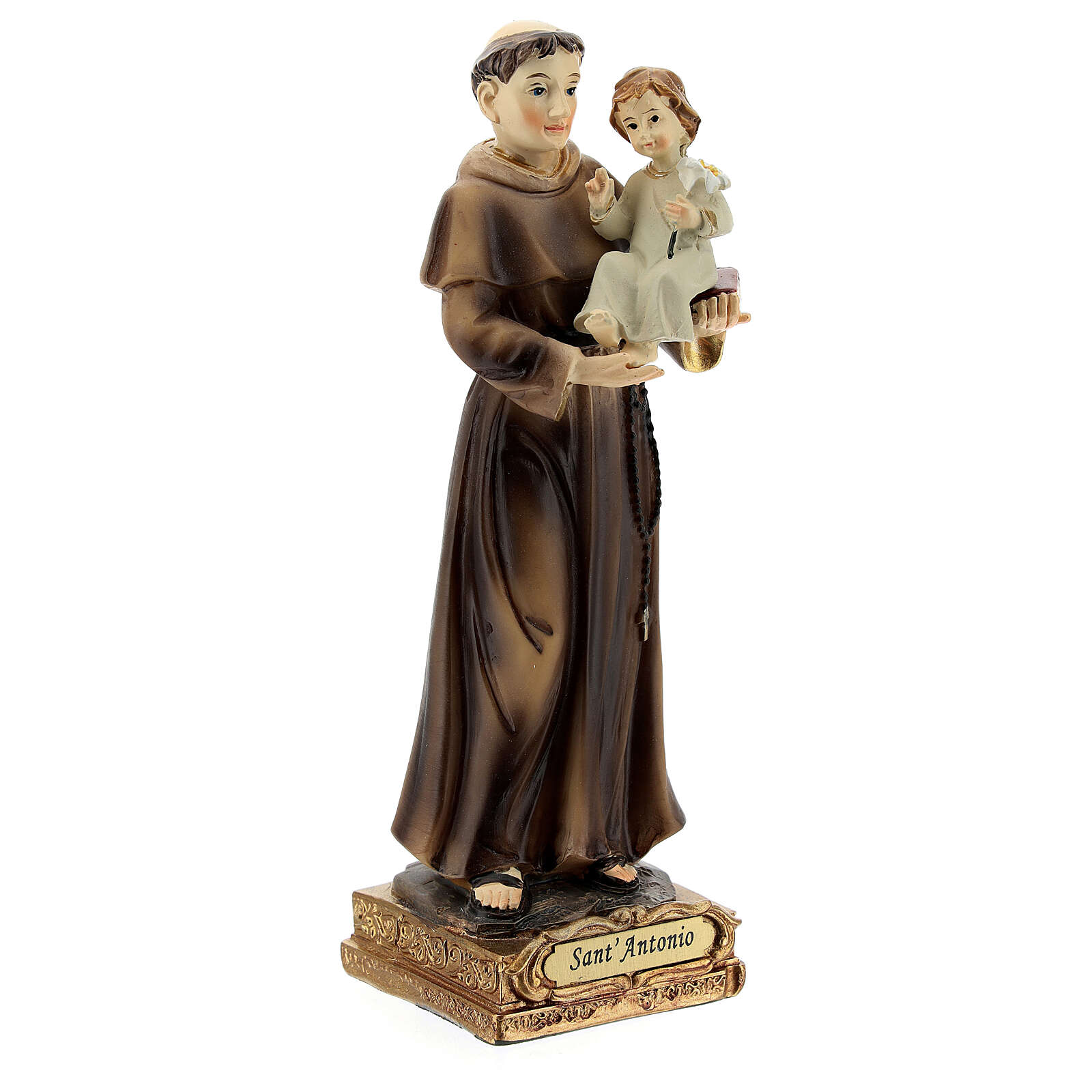 Statue of St Anthony Padua 15 cm, golden resin 4