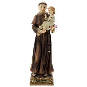 San Antonio de Padua lirios Niño estatua resina 22 cm