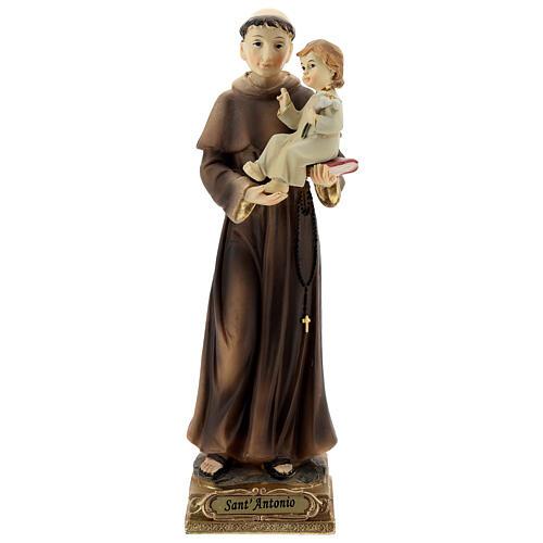 Sant'Antonio da Padova gigli Bambino statua resina 22 cm 1