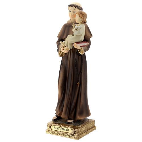 Sant'Antonio da Padova gigli Bambino statua resina 22 cm 3