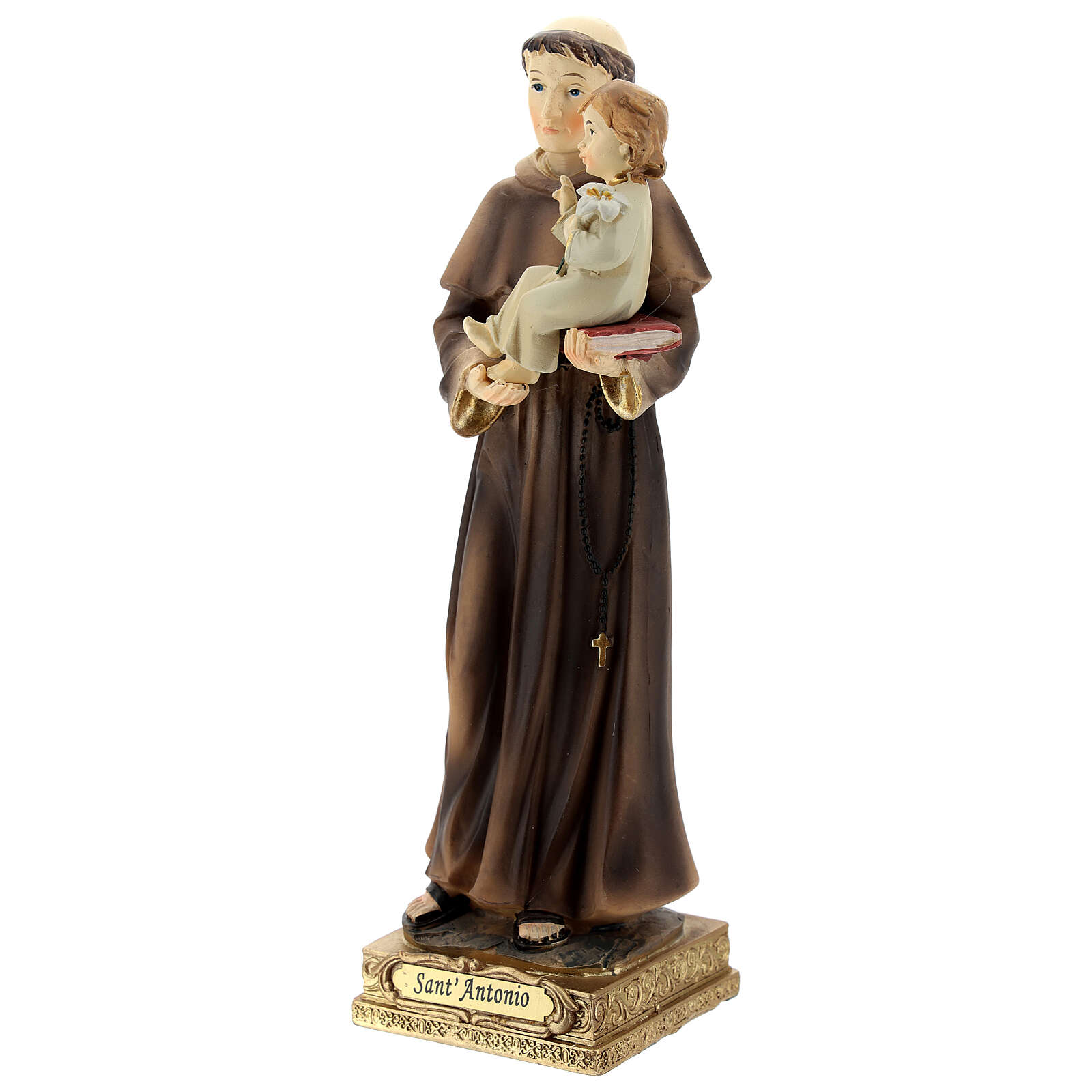 St Anthony statue holding Child with lily, 22 cm resin 4