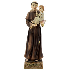 St Anthony statue holding Child with lily, 22 cm resin s1