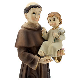 St Anthony statue holding Child with lily, 22 cm resin s2