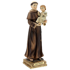 St Anthony statue holding Child with lily, 22 cm resin s4