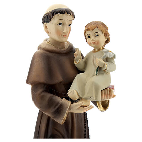 St Anthony statue holding Child with lily, 22 cm resin 2