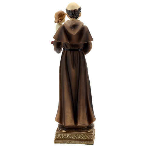 St Anthony statue holding Child with lily, 22 cm resin 5