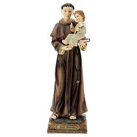 Statua Sant'Antonio Padova visione Bambino resina 32 cm s1