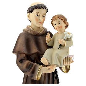 Statua Sant'Antonio Padova visione Bambino resina 32 cm s2