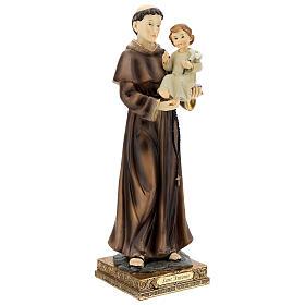 Statua Sant'Antonio Padova visione Bambino resina 32 cm s4