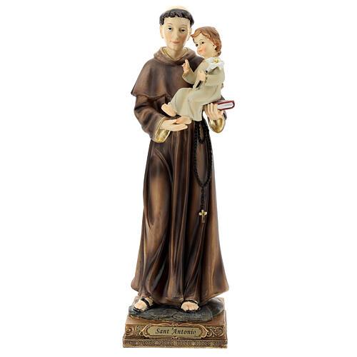 Statua Sant'Antonio Padova visione Bambino resina 32 cm 1
