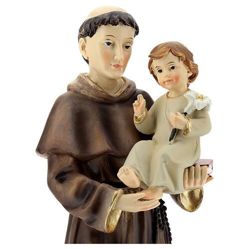 Statua Sant'Antonio Padova visione Bambino resina 32 cm 2