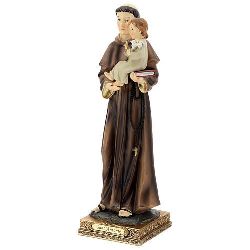 Statua Sant'Antonio Padova visione Bambino resina 32 cm 3