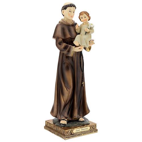 Statua Sant'Antonio Padova visione Bambino resina 32 cm 4