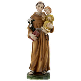 St Anthony statue with Child yellow dress, 30 cm resin s1
