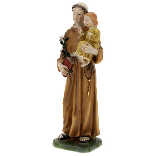 St Anthony statue with Child yellow dress, 30 cm resin 3