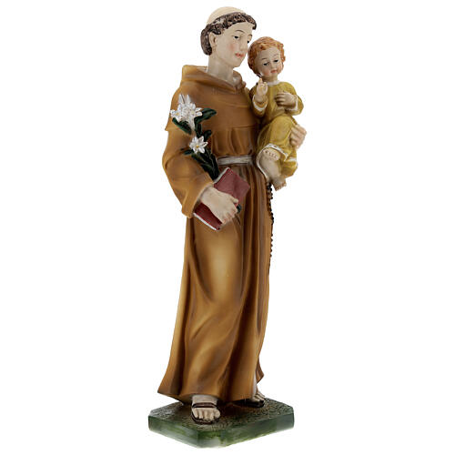 St Anthony statue with Child yellow dress, 30 cm resin 4