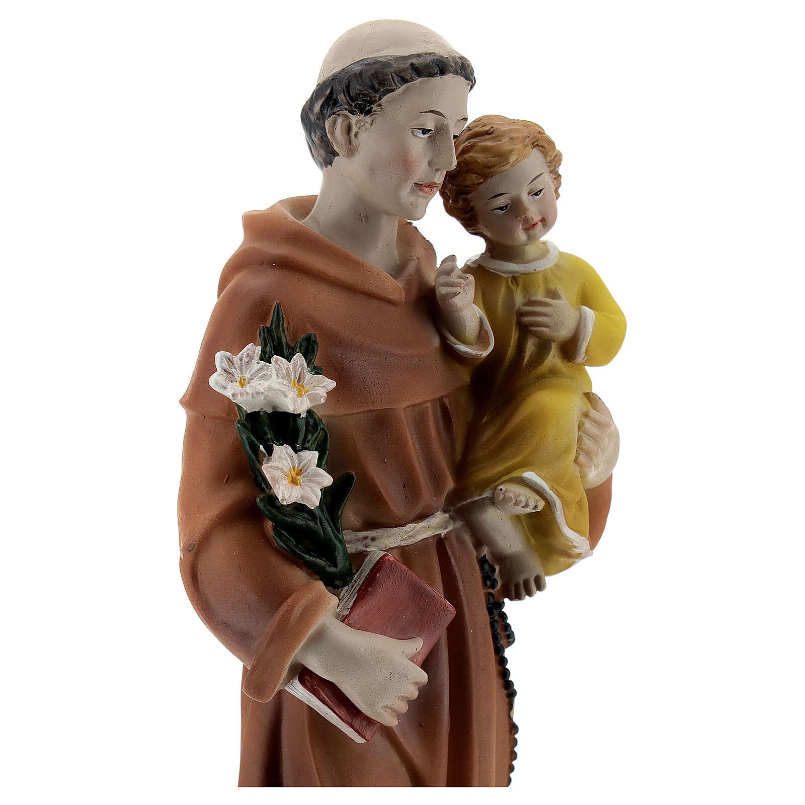 Estatua San Antonio libro en mano resina 20 cm 4