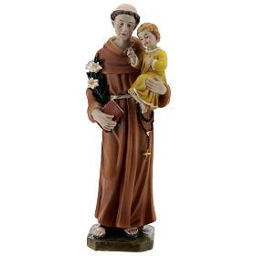 Statue Saint Antoine livre en main résine 20 cm s1