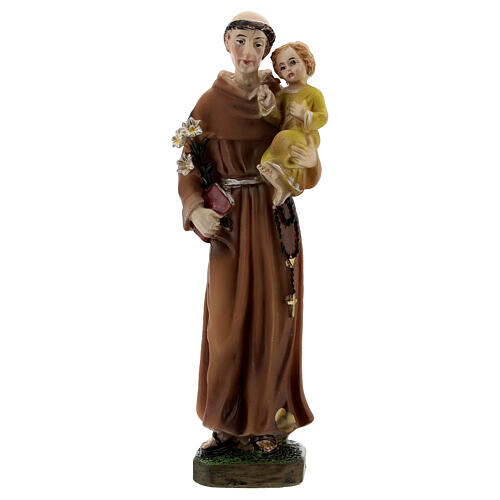 Statuette of St. Anthony with Baby resin yellow clothes 12 cm 1