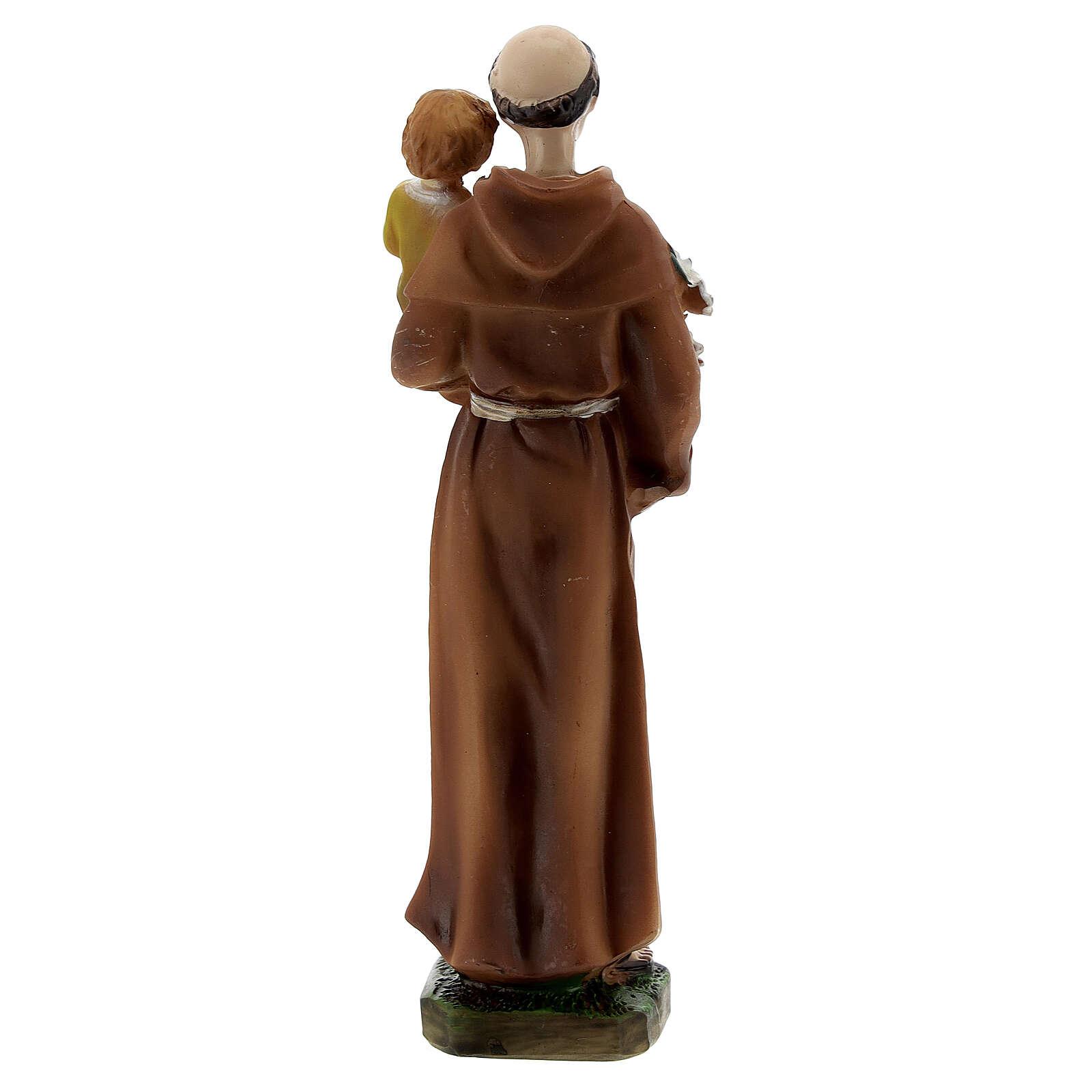 Statuetta Sant'Antonio Bambino abiti gialli resina 12 cm 4