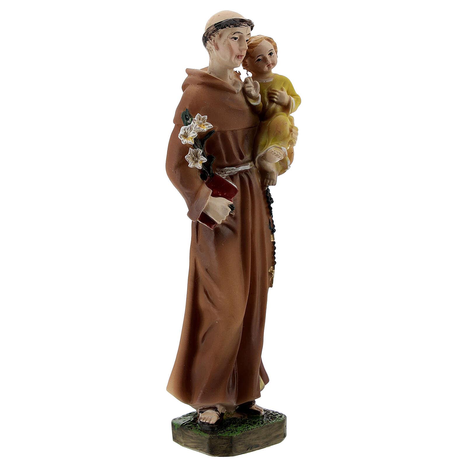 Santo António de Lisboa com Menino Jesus veste amarela imagem resina 12 cm 4