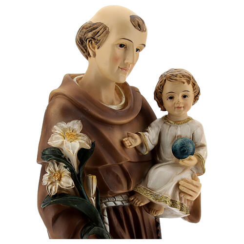 Statue of St Anthony with Child holding blue, 30 cm resin 2