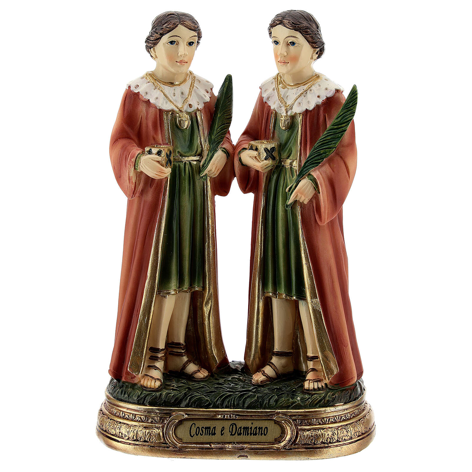Côme et Damien palmiers statue résine 12 cm 4