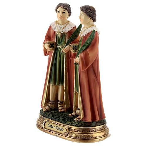 Côme et Damien palmiers statue résine 12 cm 2