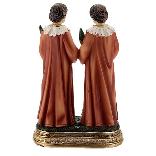 Santos Cosme e Damião ramos de palmeira imagem resina 12,5 cm 4