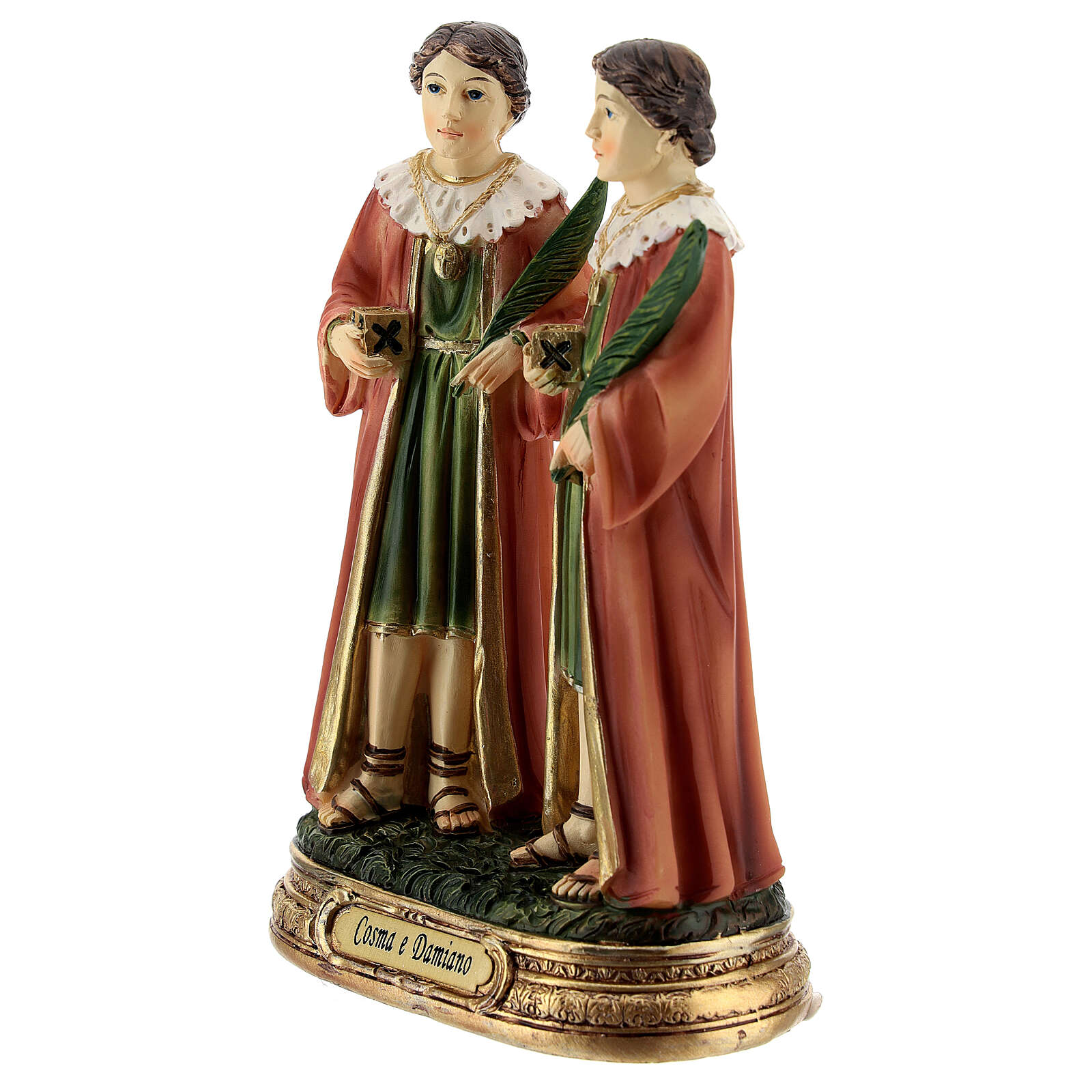 St Cosmas and Damian statue, 12 cm resin 4