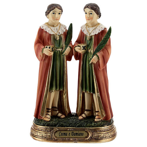 St Cosmas and Damian statue, 12 cm resin 1