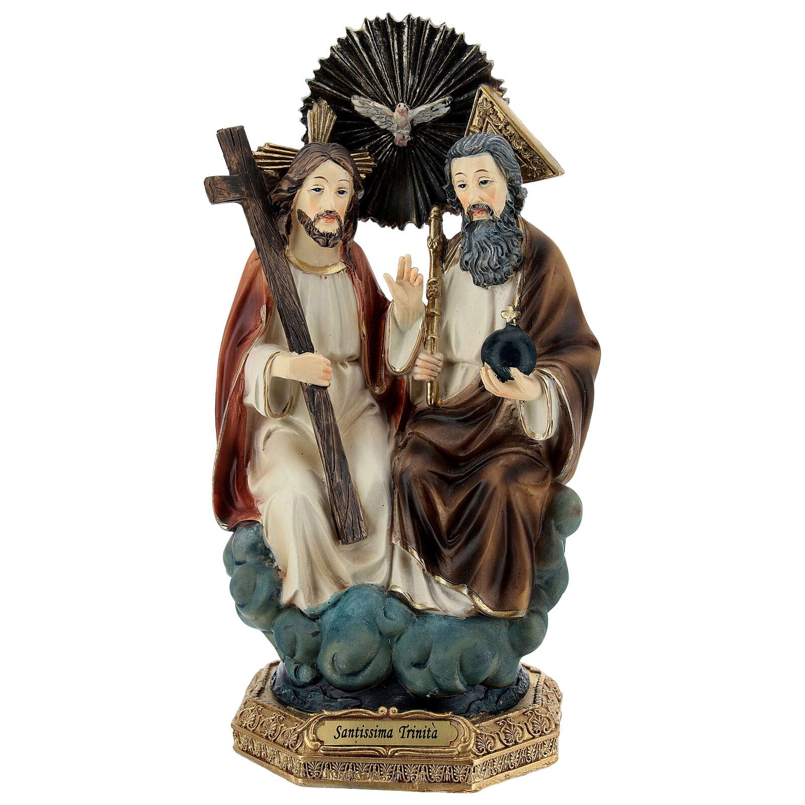 Santísima Trinidad en cielo estatua resina 20 cm 4