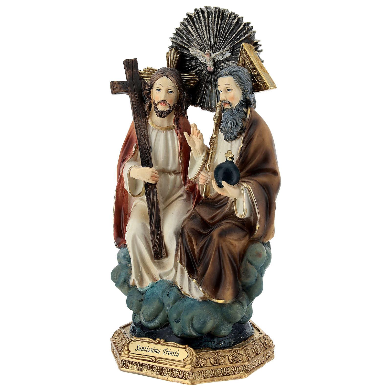 Santissima Trinità in cielo statua resina 20 cm 4