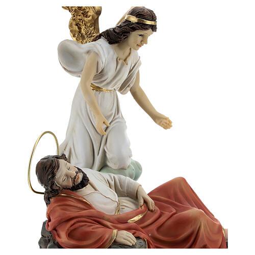 Set St. Joseph asleep with angel resin 15 cm 2