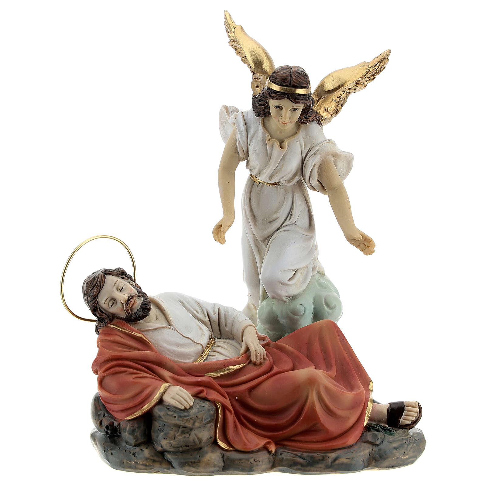 Sleeping St Joseph statue set with angel, 15 cm resin 4