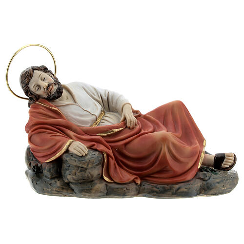 Sleeping St Joseph statue set with angel, 15 cm resin 3