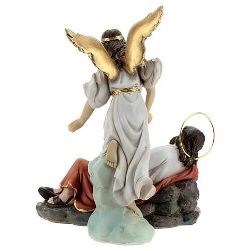 Sleeping St Joseph statue set with angel, 15 cm resin 8