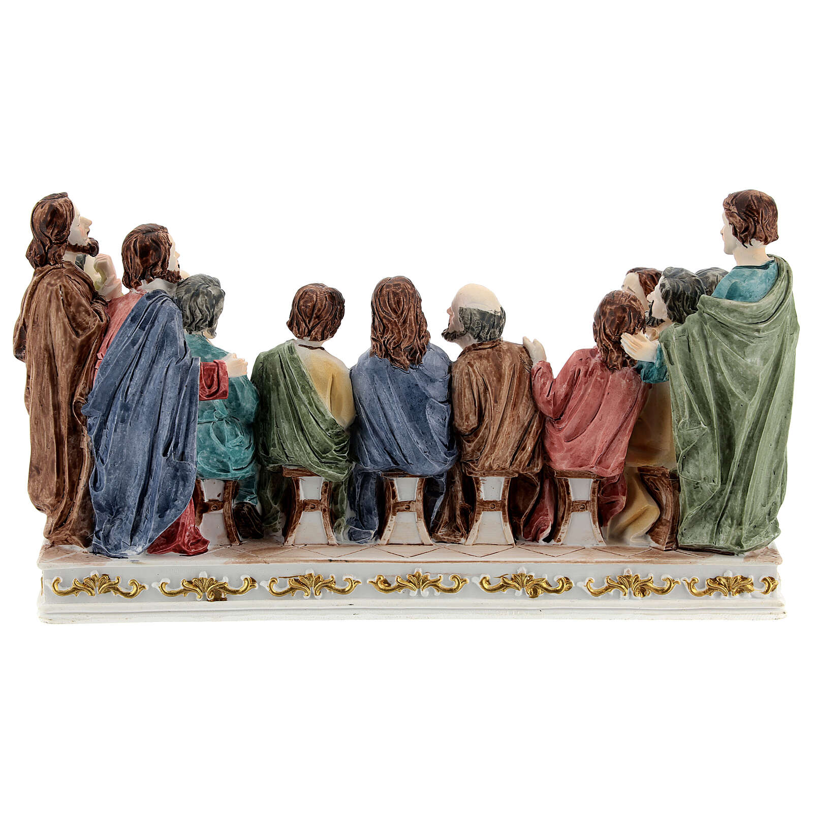 The Last Supper statue with white base in resin, 10x20x5 cm 4