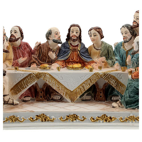 The Last Supper statue with white base in resin, 10x20x5 cm 2