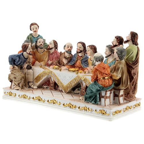 The Last Supper statue with white base in resin, 10x20x5 cm 3