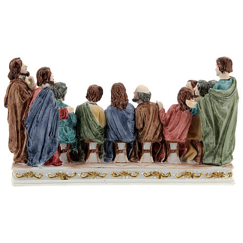 The Last Supper statue with white base in resin, 10x20x5 cm 5