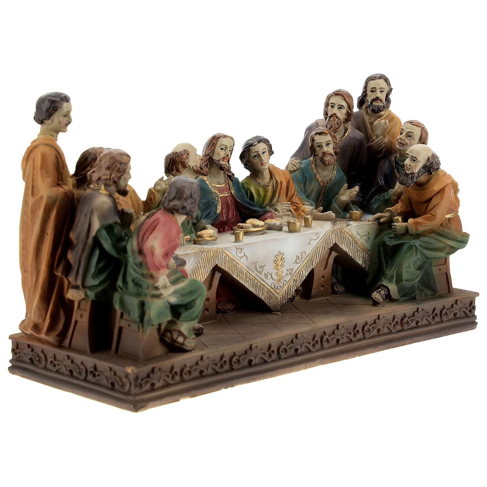 Última Ceia Jesus e Apóstolos imagem resina 13x23x9 cm 4