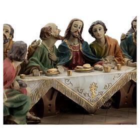 Última Ceia Jesus e Apóstolos imagem resina 13x23x9 cm s2