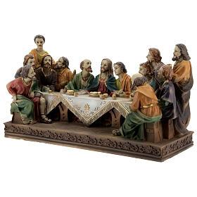 Última Ceia Jesus e Apóstolos imagem resina 13x23x9 cm s3