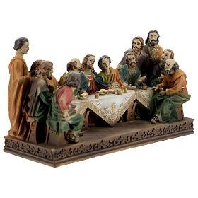 Última Ceia Jesus e Apóstolos imagem resina 13x23x9 cm s4