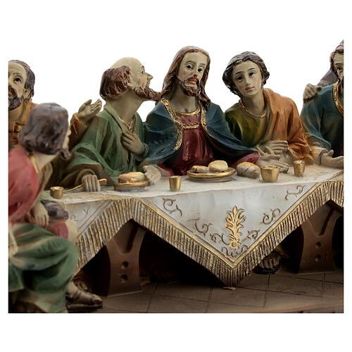 Última Ceia Jesus e Apóstolos imagem resina 13x23x9 cm 2