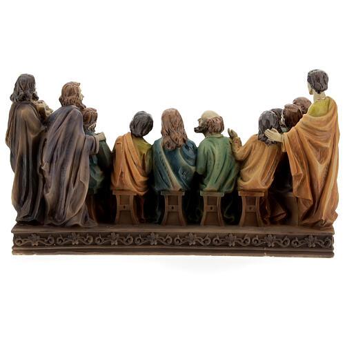 Última Ceia Jesus e Apóstolos imagem resina 13x23x9 cm 5