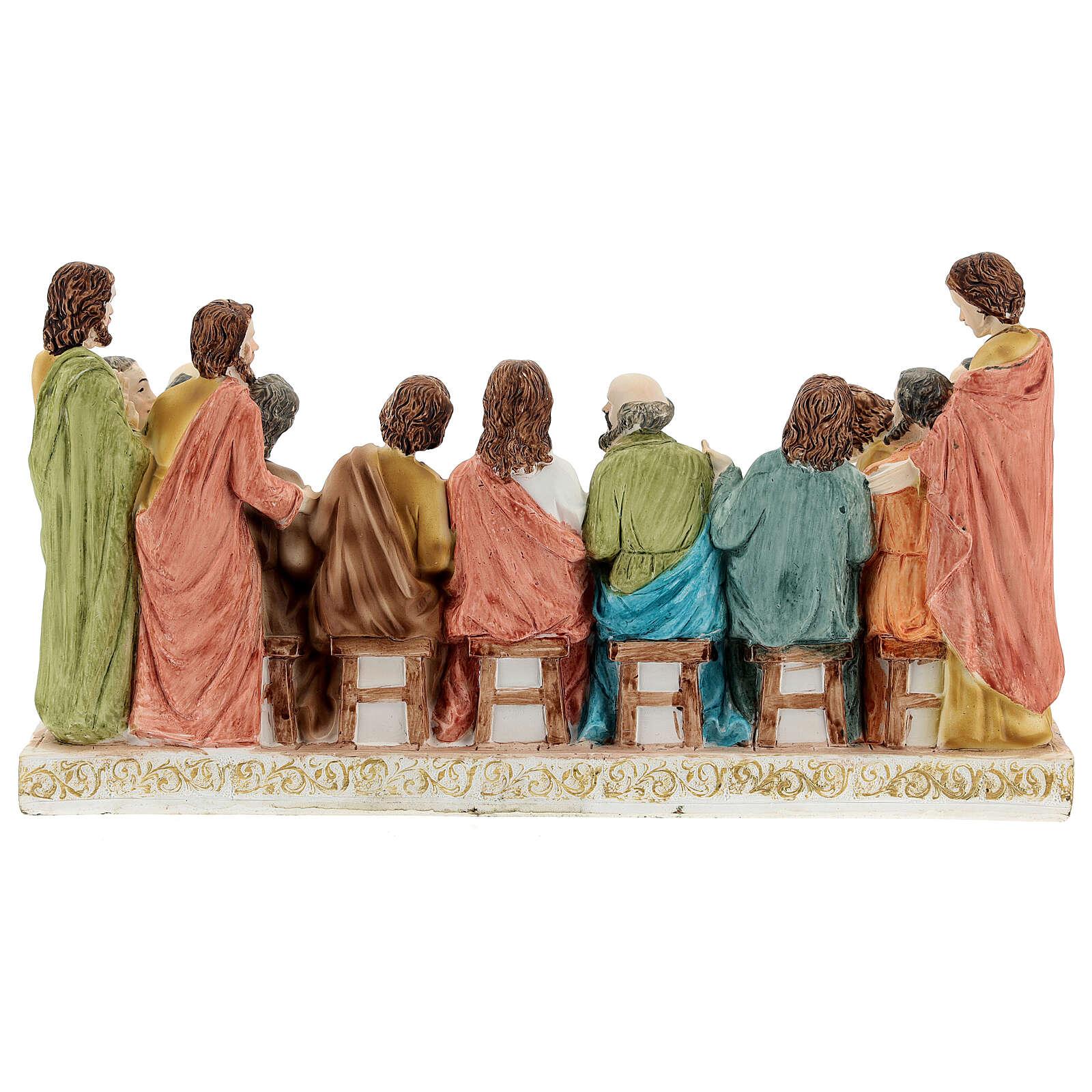 Last Supper tablecloth golden resin 15x28x10 cm 4