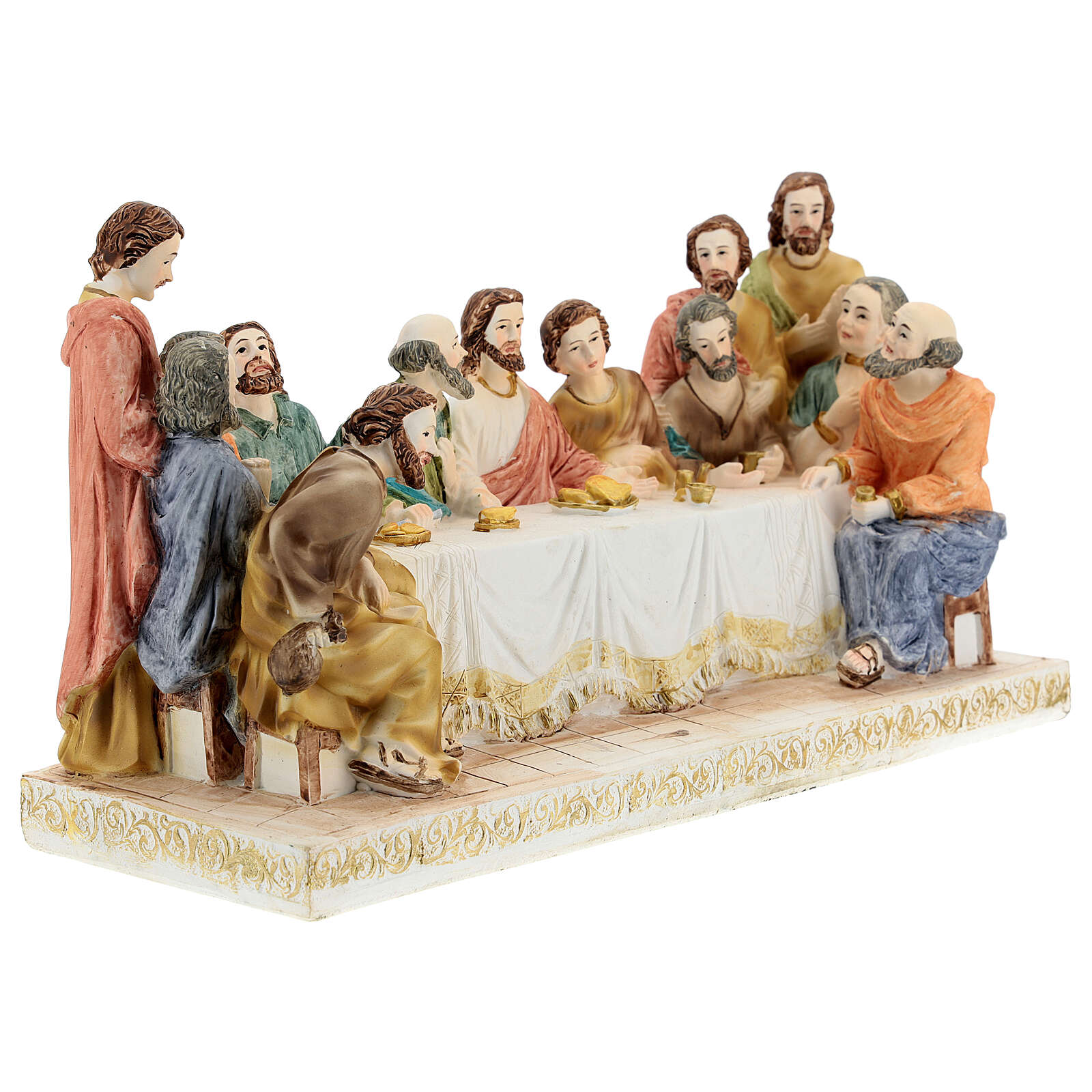 Last Supper statue with golden tablecloth, in resin 15x30x10 cm 4