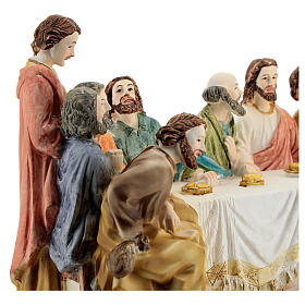 Last Supper statue with golden tablecloth, in resin 15x30x10 cm s4